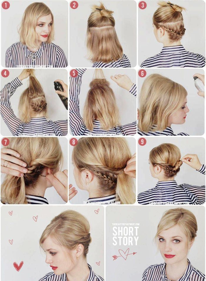 Красивые прически на короткий волос на каждый день фото